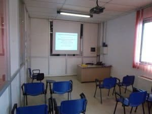 aula del corso della parte teorica per il patentino della piattaforma aerea a parma